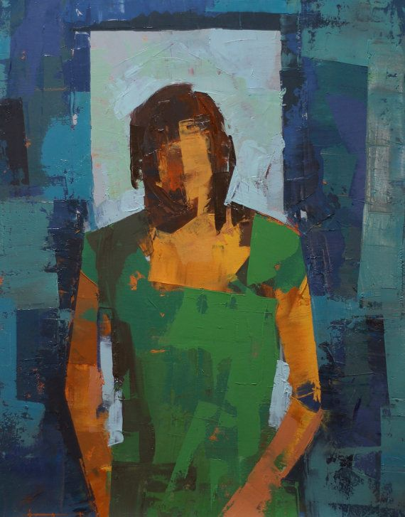 """Amy III"""" Original oil painting portrait on canvas 20"""" x 26""""(50.8cm x 66cm)abstract"""