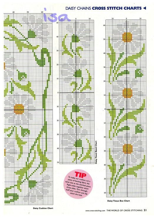 Daisy x stitch bookmark pattern
