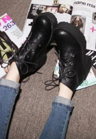 chunky ankle boots. I have a pair very similar to this from work. I'm a 4 but they make my feet like really long. They're slightly too big too. But I heart them!!!