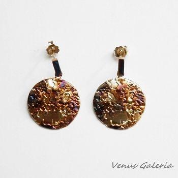 Pluton brązowy średni - kolczyki srebrn #fashionstylevintage # venusgaleria.pl