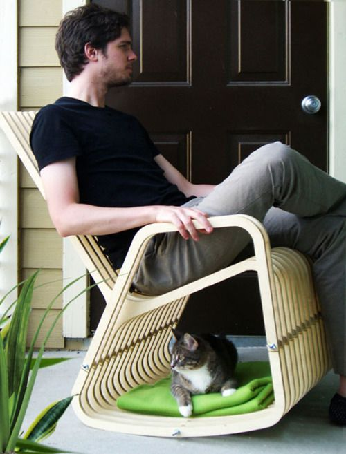 The patent-pending Rocking-2-Gether Chair designed by Houston architect Paul Kweton: Rocking 2 Gether Chair, Ideas, Cat, Rocking Chairs, Pets, Furniture Design, Animal