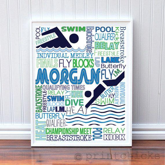 Custom Swimming Girl Bedroom Decor Personalized Swimmer Typography Poster - 11 x 14. $22.00, via Etsy.