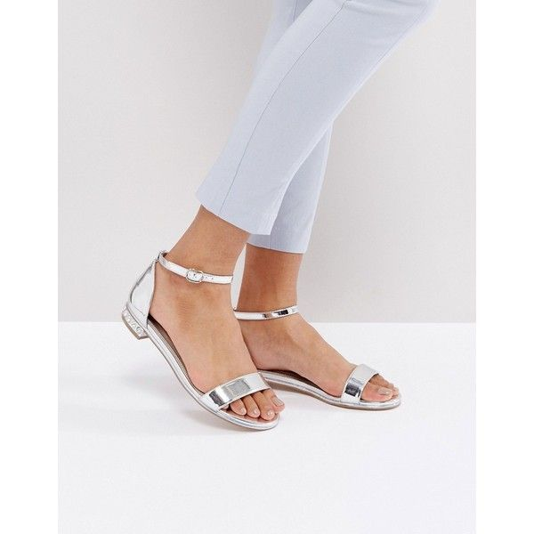 ASOS FLEETWOOD Flat Sandals (94 ILS) ❤ liked on Polyvore featuring shoes, sandals, silver, metallic sandals, metallic flat sandals, open toe sandals, silver embellished sandals and ankle strap flat sandals