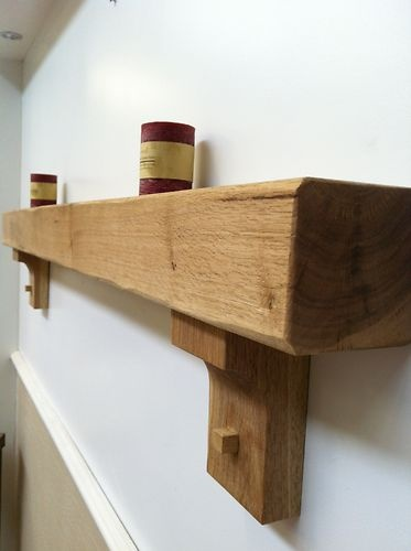 Solid Oak Floating Mantle Surround / Shelf | eBay