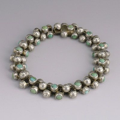 "Bracelet | William Spratling ""Caviar"" Silver and Turquoise. ca. 1940s, Mexico"