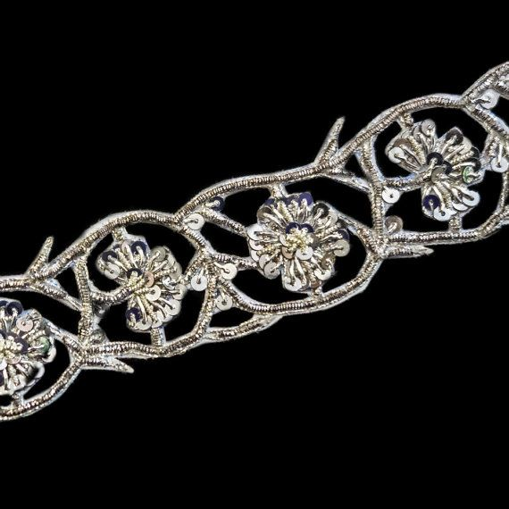 silver metallic thread floral applique trim by ColourCocoon