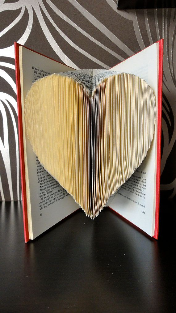 Folded Book Art - Heart large - Unique present