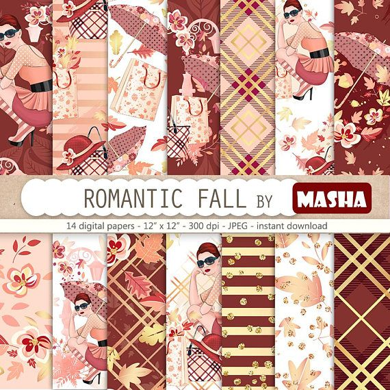 Romanitc Fall Digital Papers Autumn Digital Paper Autumn #autumn #digital #paper #seamless #fall #pattern #fashion #girl #illustration #floral #flower #gold #foil #leaves #umbrella #accessories #burberry