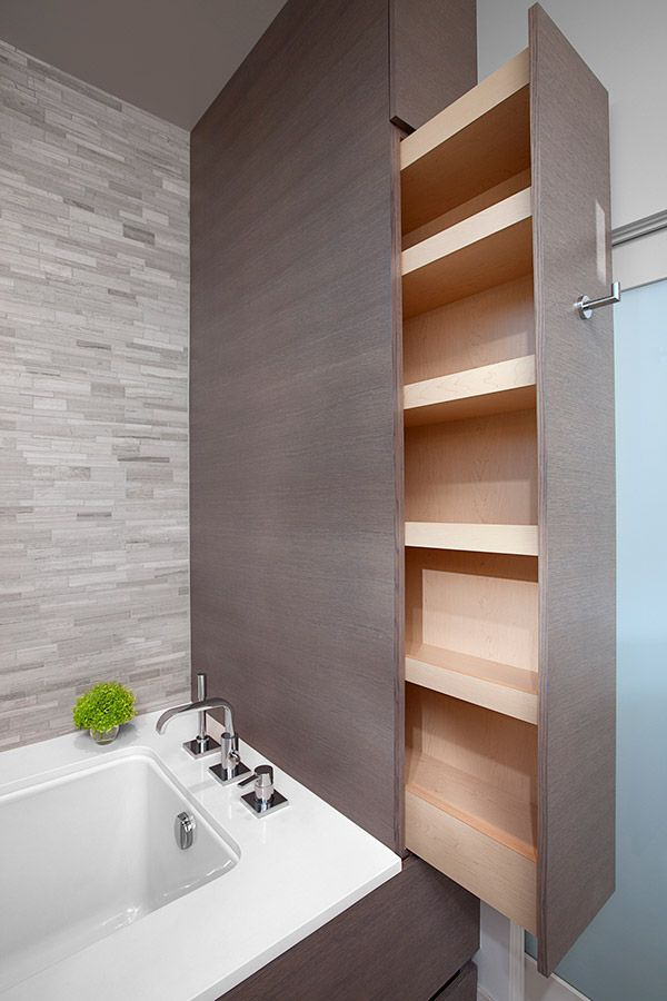 Master ensuite millwork. Bestbuilders.ca Also between sink cabinet and wall