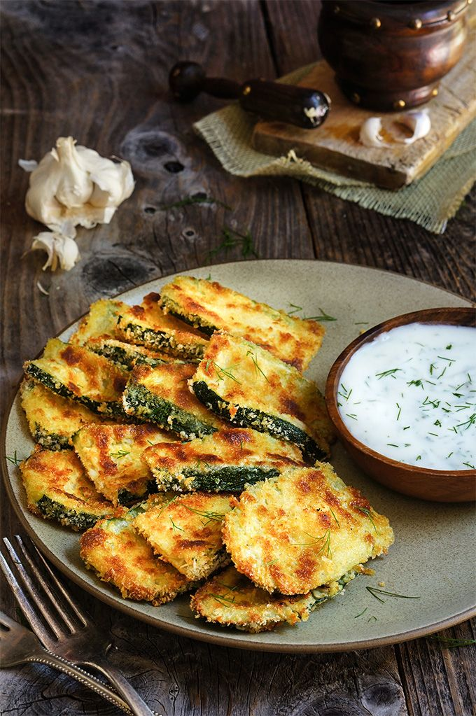 Oven-fried zucchini crisps with garlic yogurt dip