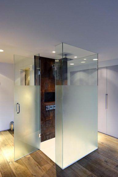 sandblasted shower cubicle