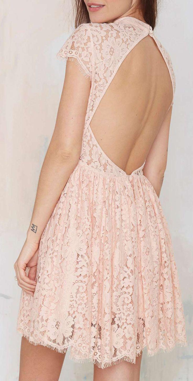 Blush open back dress