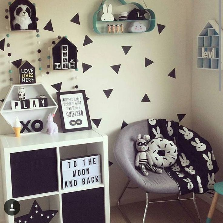 @mumma_leesha has styled this room perfectly. Features @kmartaus grey chair, shadow box (painted), XO (painted black), lightbox, LED black star, cloud shelves, aqua dipped stool and bunny light. Beautiful room