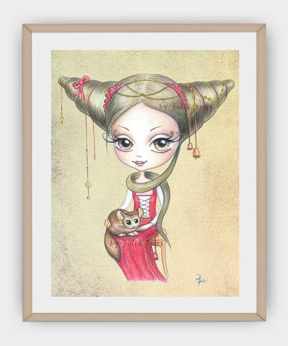 Girl Wall Art Printable Vintage Girl illustration by JuliaSpiri