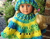 American Girl Doll Clothes - Crocheted Poncho & Hat Set - Yellow/Blue/Lime Multi - Also fits most other 18 Inch Dolls