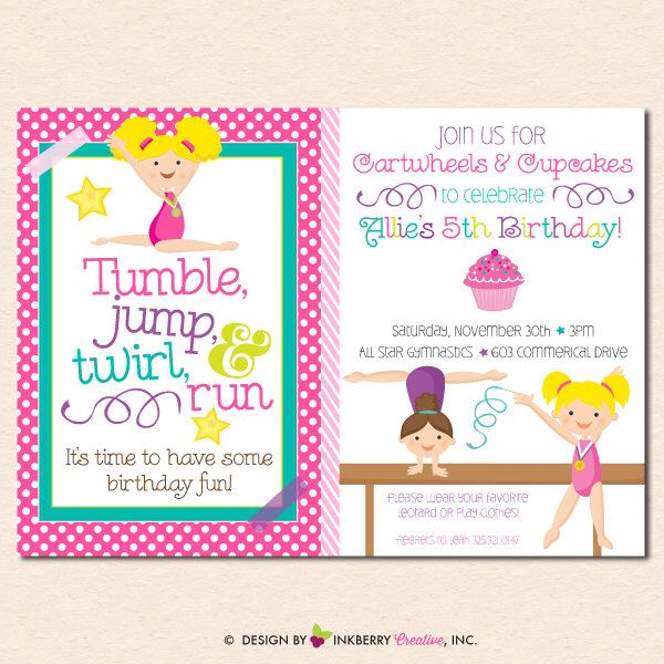 Girl's Gymnastics Birthday Party Invitation -Cupcakes & Cartwheels -  (Digital File OR Cardstock Printed Cards Also Available) by inkberrycards on Etsy https://www.etsy.com/listing/169295701/girls-gymnastics-birthday-party