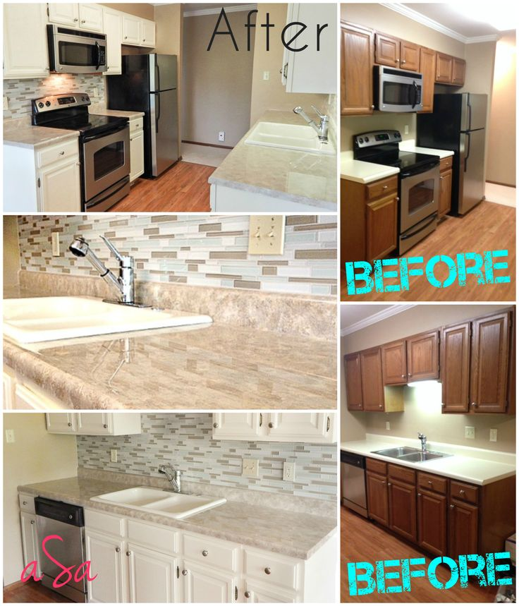 Before and after 300 kitchen transformation backsplash for Painting kitchen countertops before and after
