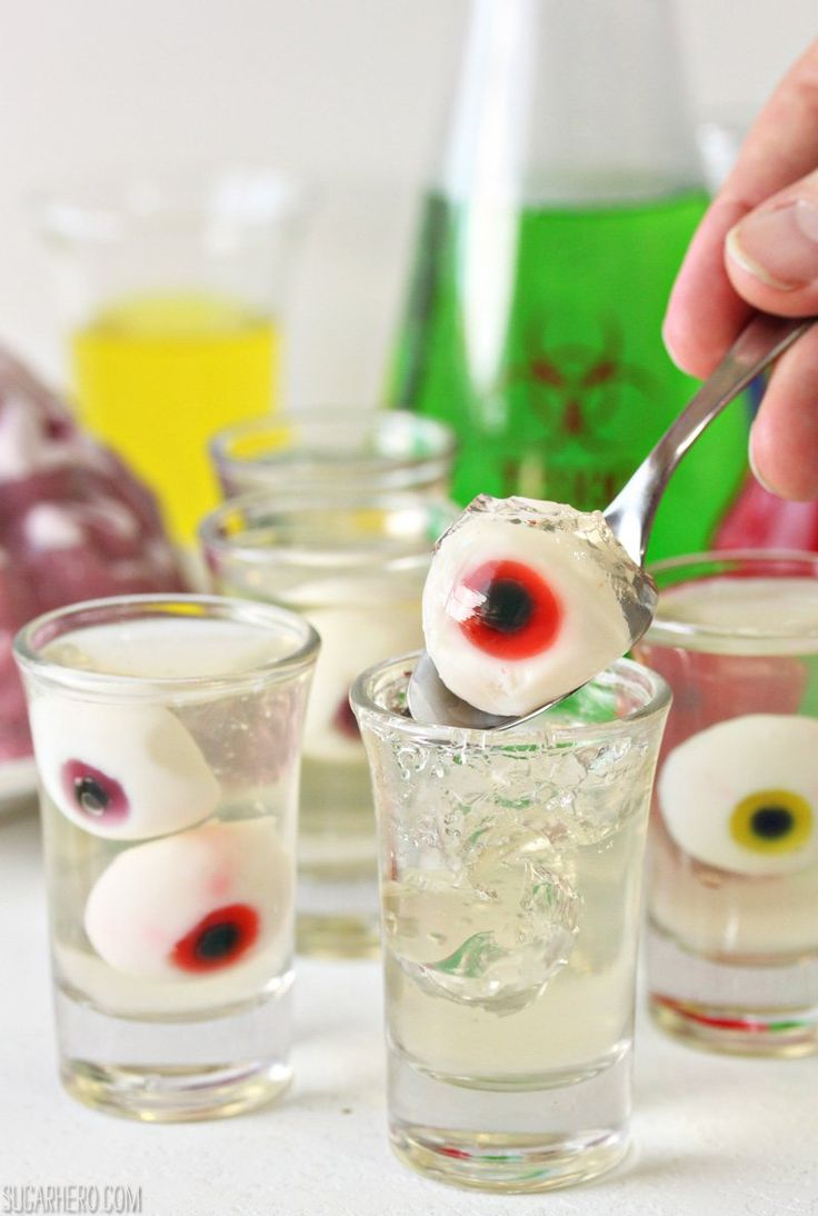 """Floating Eyeball Jello Shots   From SugarHero.com...I like that it's clear, but this recipe has no alcohol...should be an easy enough fix tho use these for the """" kitchens specialty shot"""""""
