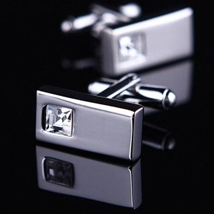 White Crystal Inlay Cufflinks
