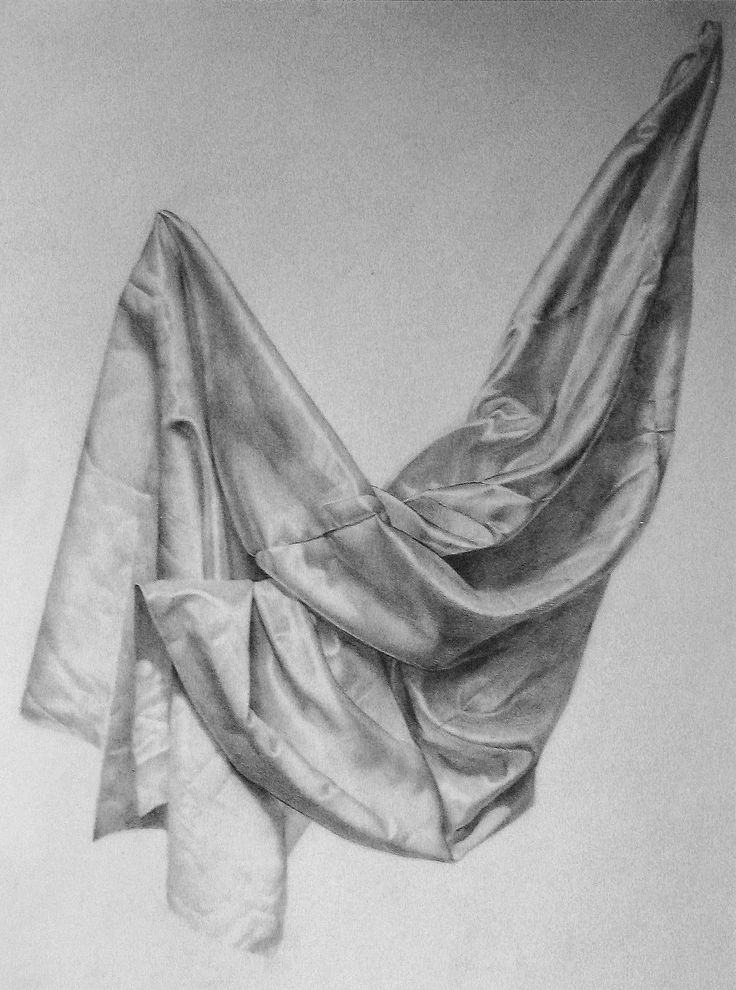 "classical figure drawing and the contemporary realism of hedwardbrooks: ""Gold Satin, Drapery Study,""  Graphite on Fabriano..."
