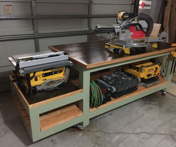 Built this workbench to maximize my work area in the garage. I wanted lots of tool storage with power built in and a table saw outfeed table. It had to be movable