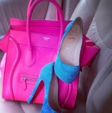 Pink purse & bright heels to pair with a plain black tee by DMS member sarah0914