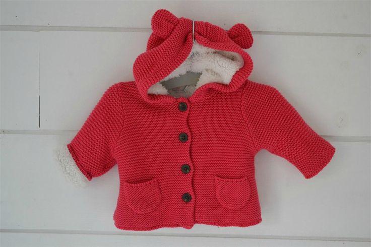 Manteau à capuche tricoté rose bonbon, doublé de fourrure Tape à l'Oeil - Naissance / 1 Mois