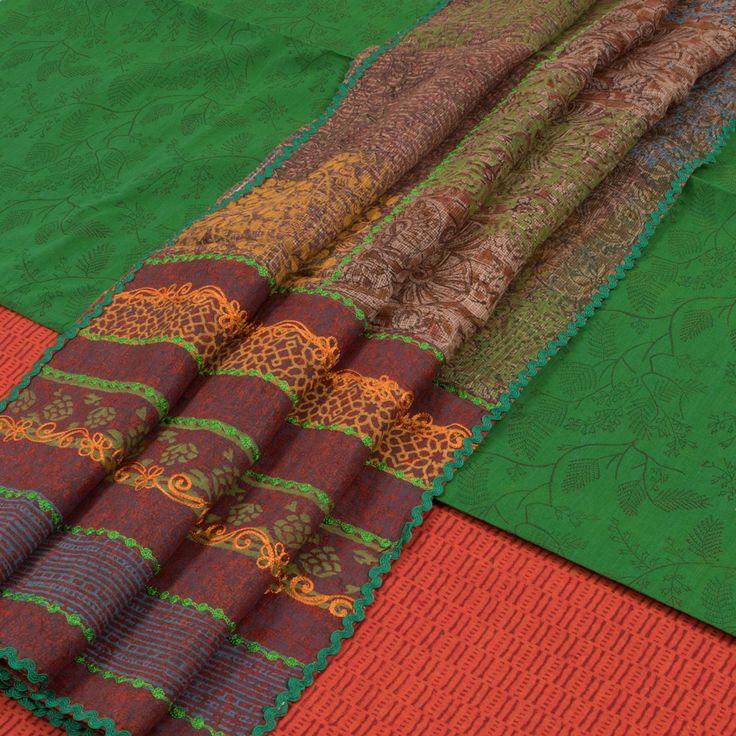 Buy online Hand Block Printed Green Cotton 3 Piece Salwar Suit Material With Kota Silk Ariwork Dupatta 10013222