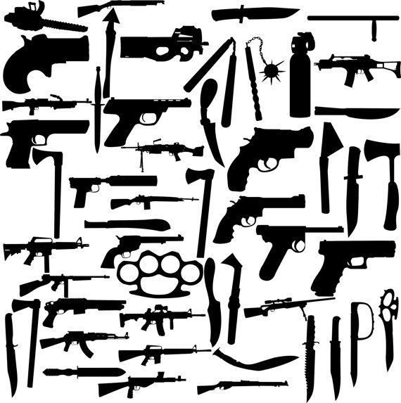 51 Weapon silhouette digital clipart, 51 PNG, 51 JPG, Instant download,