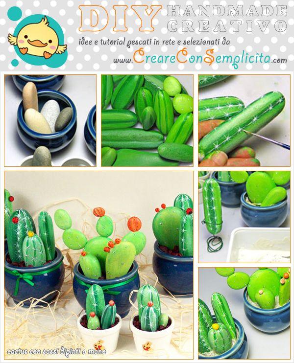 Cactus Sassi Dipinti