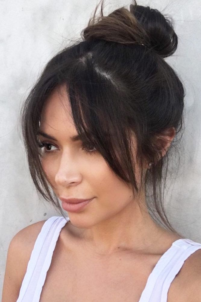 27 Sweet Medium Length Hairstyles with Pony Are you + # bangs #Check #Hairstyles #Gallery #Hairstyles #Length