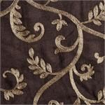 """Macire ready-made drapes Sewn in the USA!  Curtain Panel in chocolate brown/gold color with embroidered scroll/leaf pattern: Add Lining, Interlining, Blackout : Grommets or add Back-Tabs to your curtains : standard size draperies or extra long 108"""" inch size or panels in 120"""" inch length : fabric by the bolt for custom window treatments :"""