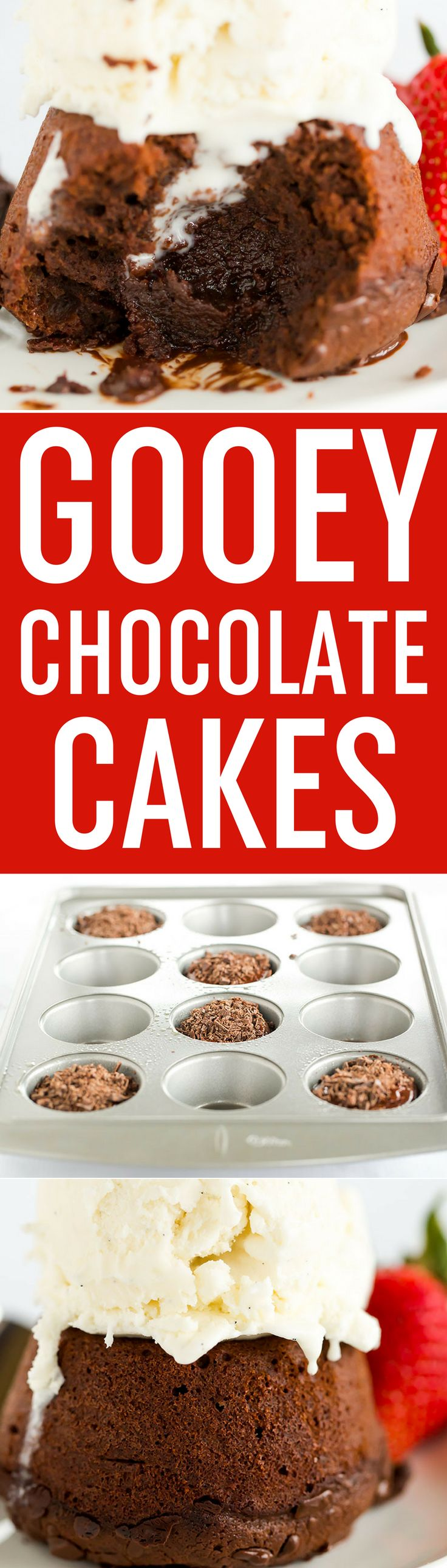 Gooey Chocolate Cakes - Baked in individual servings and packed with loads of chocolate flavor, this recipe from Dorie Greenspan is perfect for dinner parties or keeping some dessert stashed in the freezer! via @browneyedbaker
