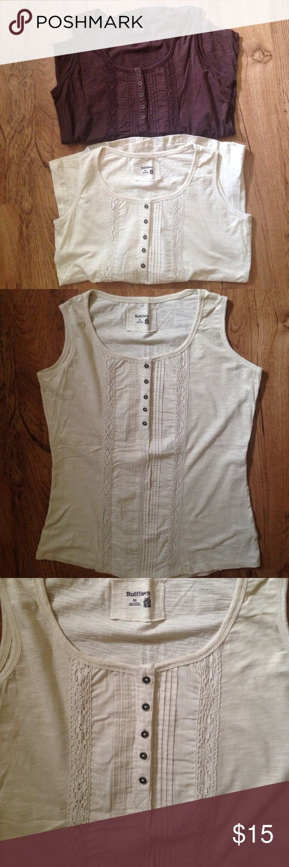 Ruff Hewn Crotchet Tanks One is beige and the other is brown. Same styles. Crotchet and pleated details on front. 100% cotton. Like new Ruff Hewn Tops Tank Tops