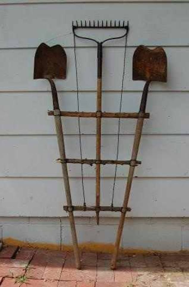 Upcycled old garden tool trellis gardening ideas for Gardening tools for 6 year old