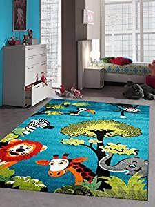 Trend Kinderteppich Spielteppich Kinderzimmer Teppich Zootiere niedliche bunte Tiere mit Elefant Giraffe L we Zebra Affe T rkis Orange