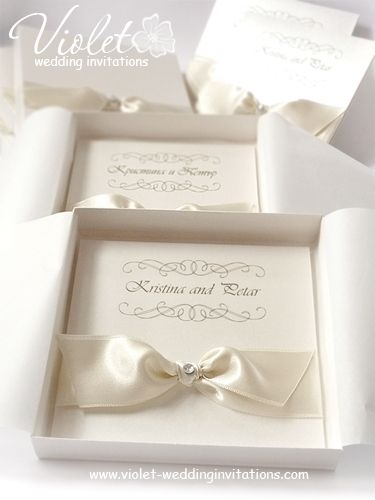#ivory #wedding #invitations | pearlescent invitation in a box from www.violet-weddinginvitations.com