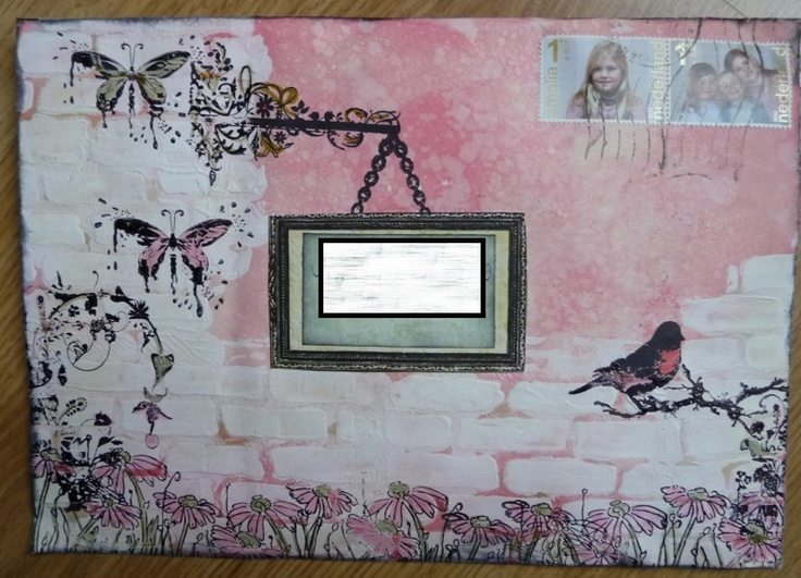 mail art with glimmermist/gesso/distressmarkers/stamps