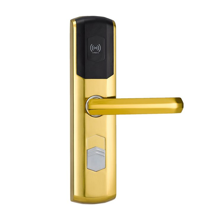 L&S Digital Electronic Lock Card Door Lock for Home Hotel US Mortise Zinc Alloy Satin Gold L16049SG