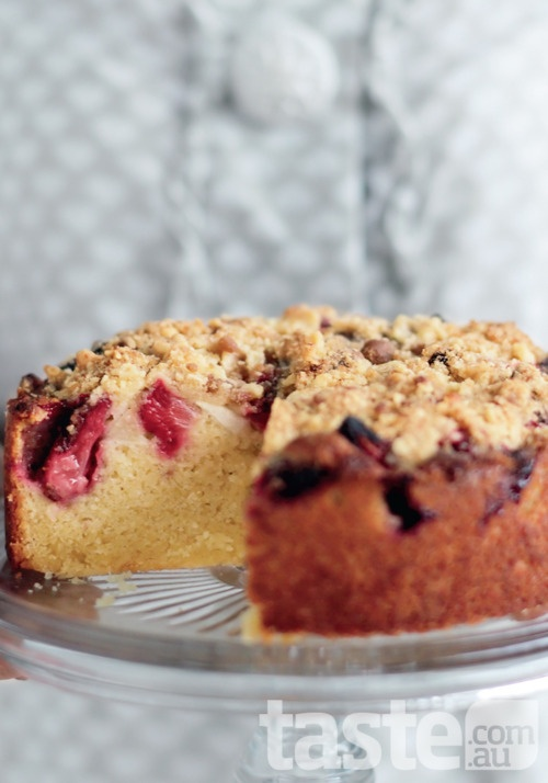 This is a classic warm cake baked with fruit and crunchy crumble topping. (Photography by Ben Dearnley; Recipe by Michelle Noerianto)