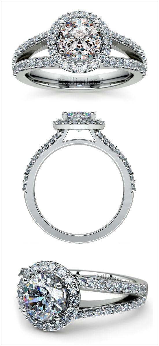 Idée et inspiration Bague Diamant :   Image   Description   Halo engagement ring. Jewelery Design: Brilliance #wchappyhour www.weddingchicks…