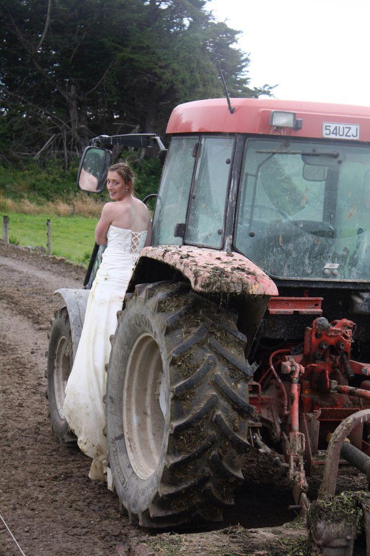 Tractor. Trash my wedding dress