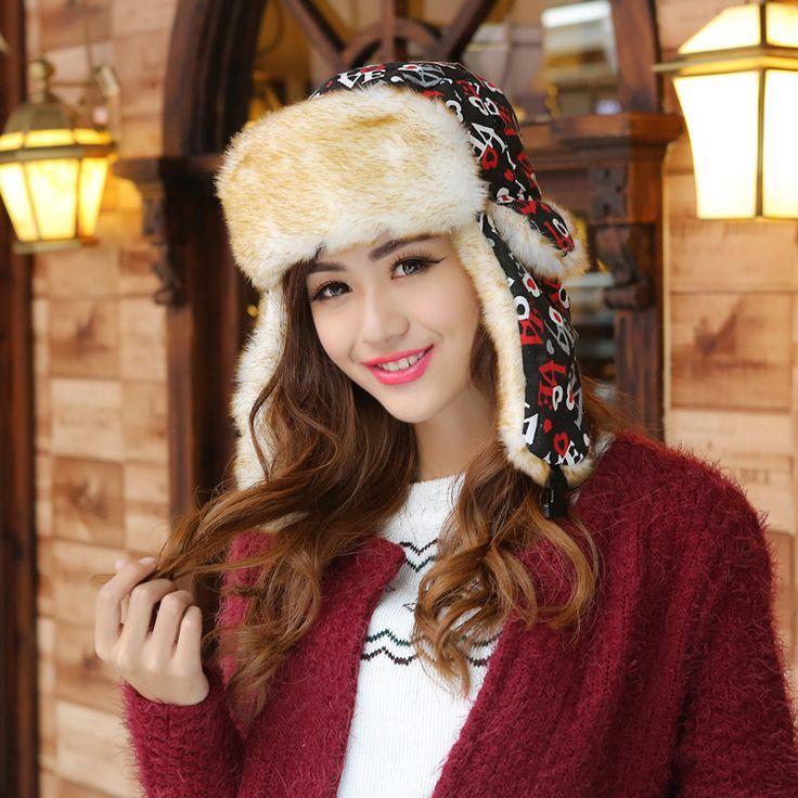 Love Woman Winter Hats Women Winter Hats Keep Warm Hat Fur Snow Cap Russian Winter Caps Adult Women Cap Woman Bomber Hats