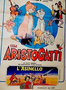 MANIFESTO Cinema 100X140 GLI ARISTOGATTI WALT DISNEY | eBay
