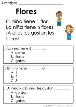 Spanish Reading Comprehension Passages for Beginning Readers