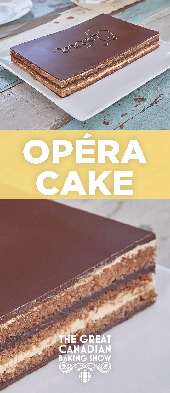 Opera cake is a complex dessert, made with joconde sponge, chocolate ganache, coffee buttercream and chocolate glaze