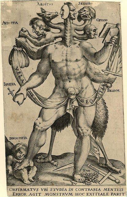 ALEGORIA DE LOS CINCO MONSTRUOS OBSTINADOS. ANÓNIMO 1575-1618