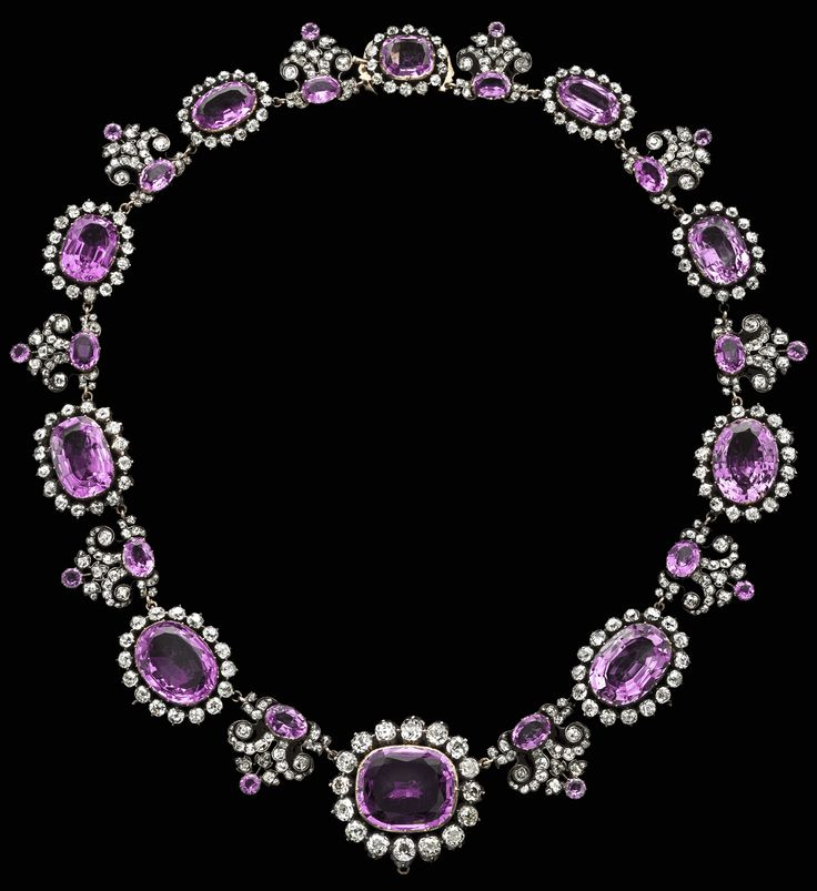 Prussia – House of Hohenzollern Royal Pink Topaz Necklace - Comprising ten topazes of different shapes and sizes graduated in size from the large central cushion-shaped stone towards the back, each with an old-cut.