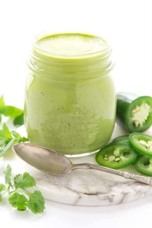 This delicious Peruvian Green Sauce is fresh, vibrant and fabulous, drizzled on anything from the grill. It's also great with potatoes, rice, veggies, etc
