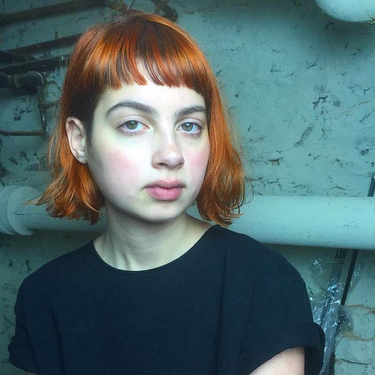 . Blood orange shortbangs bob @petitefival  Thank you! #orangehair #haircolor #shortbangs #bangs #hair #choppybangs